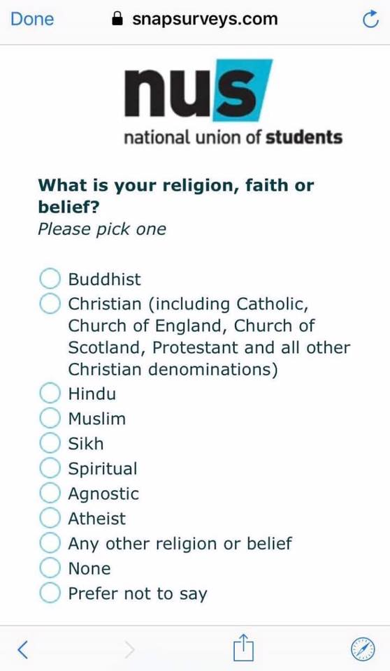 The NUS Survey sent out this week OMITS Judaism!